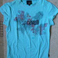 Tricou dama Roberto Cavalli Just Cavalli Original! Model grafic animal print, Marime: 38, Culoare: Turcoaz, Imprimeu grafic, Maneca scurta, Universala
