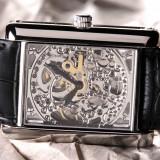 "Ceas barbatesc, Lux - elegant, Mecanic-Manual, Inox, Piele, Analog - Ceas de Lux Automatic ""Yves Camani JULIEN Silver/Black""-419e-ORIGINAL-SIGILAT-Cutie-Etichete-Garantie Producator-La Pret Final"