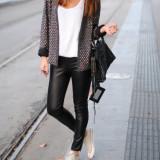 Pantaloni piele, Pantaloni colant negru piele ecologica Toate marimile - Pantaloni dama, Marime: 34, 36, 38, 40, 42, 44