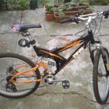 Mountain Bike DHS, 22 inch, 26 inch, Numar viteze: 18, Otel, Negru-Gri-Portocaliu - Bicicleta DHS cu suspensie full si frana disc
