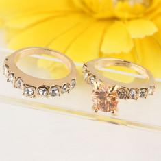 Inel dublu filat cu aur galben 14k (gold filled) marime 9 (19) piatra topaz - Inel placate cu aur Swarovski