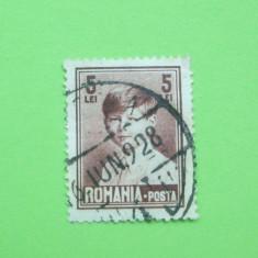 ROMANIA 5 LEI 1928 / REGELE MIHAI COPIL / STAMPILA 6 IUNIE 1928 - Timbre Romania