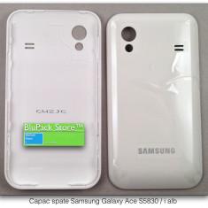Geam carcasa - Capac spate baterie Samsung Galaxy Ace S5830 sau S5830i alb white piesa de schimb nou service GSM ecran lcd touch screen spart