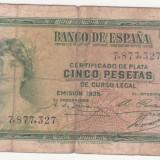(7) BANCNOTA SPANIA - 5 PESETAS 1935