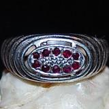 Inel antic argint 825 cu rubine rosu visiniu naturale model rafinat superb!!!marime mica - Inel argint