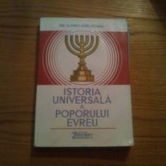ISTORIA UNIVERSALA A POPORULUI EVREU -- dr. Alfred Harlaoanu ( dedicatie - autograf ) -- 1992, 414 p.; harta color - Istorie