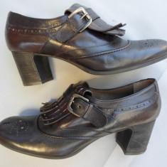 CALAMAI -PANTOFI DE TOAMNA, DIN PIELE NATURALA INTERIOR / EXTERIOR, CA NOI, NR. 41, GERMANIA - Pantof dama Zara, Culoare: Maro