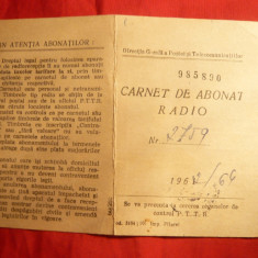 Carnet Abonat Radio 1962, cu Timbre Fiscale - Pasaport/Document