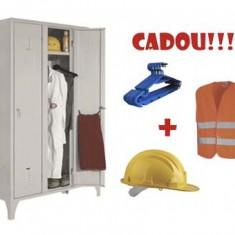 VESTIAR METALIC CU PICIOARE SI 3 USI, 111/03 + CADOU!!! (5 buc Umeras vestiar + VESTA SEMNALIZARE + CASCA PROTECTIE)