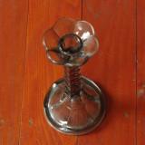 Vechi sfesnic din sticla - cristal - - suport pentru lumanari cu talpa !!!!