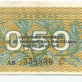 Bancnota Straine, Europa - LL bancnota Lituania 0.50 talonas 1991 (#8830) VG ( cu supratipar!)