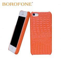 Husa piele BOROFONE Crocodile back cover, iPhone 5 / 5s aspect de piele crocodil - Husa Telefon Apple, Portocaliu, Piele, Husa