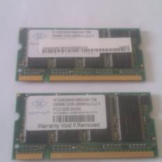 Memorie laptop 256Mb DDR SDRAM PC 2100 266Mhz Nanya - 2buc - Memorie RAM laptop