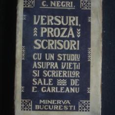 Carte veche - C. NEGRI - VERSURI, PROZA, SCRISORI CU UN STUDIU ASUPRA VIETII SI SCRIERILOR SALE DE E. GARLEANU {1909}