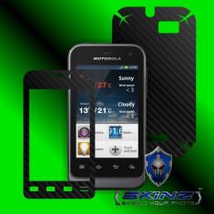 Folie de protectie - MOTOROLA DEFY MINI XT320 XT321 - Folie Carbon SKINZ kit full body, Protectie totala telefon profesionala, ecran, spate, carcasa, husa tip skin