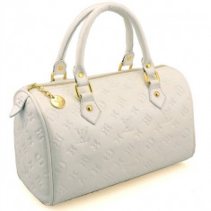 Geanta Louis Vuitton ORIGINALA - Geanta Dama Louis Vuitton, Geanta umar manere scurte, Crem, Asemanator piele, Medie