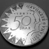 50 Gulden 1987  - Olanda - Argint - Nunta de Aur - 50 ani casatorie Juliana si Bernhard