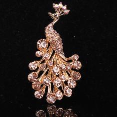Brosa placata cu Aur 14k cristale Swarovski Peacock - Brosa Swarovski