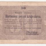 (2) BANCNOTA UNGARIA - 30 PENGO 1849 - FISURATA