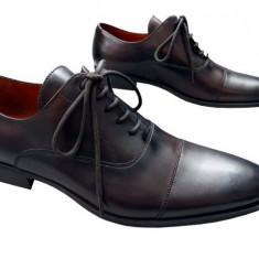 Pantofi barbati piele naturala Denis-1289-maro spatolat