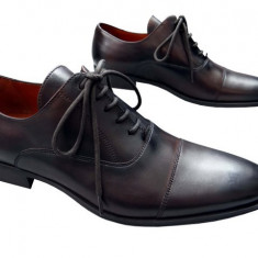 Pantofi barbati piele naturala Denis-1289-maro spatolat, Marime: 41
