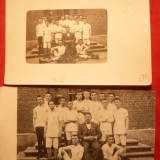 2 Fotografii 1923- Echipa de Oina a Seminarului Central Bucuresti -locul I, cu nume pe spate - Fotografie
