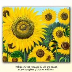 Tablou cu floarea soarelui (5) - ulei pe panza 60x50cm, livrare gratuita in 24h