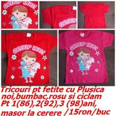 Tricouri pt fetite cu PLUSICA,NOI,pt 1,2,3 ani