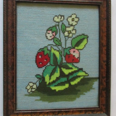 GOBLEN-BUCHET DE FLORI-inramat, sticla protectoare - Tapiterie Goblen