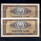 2 BANCNOTE 5 LEI 1966, NECIRCULATE - SERII CONSECUTIVE