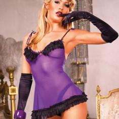 Rochite - Baci Camasa de Noapte Violet-Negru cu Volanase 260 - Lenjerie sexy femei