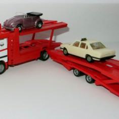 Herpa Mercedes ACTROS transportor auto + 2 masini BONUS 1:87 - Macheta auto