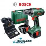 Bormasina Bosch PSR 12-2, set acumulator rezerva + accesorii, gaurire/insurubare