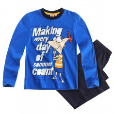 Haine copii - Pijama copii 4-12 ani 83285 albastru - Phineas and Ferb