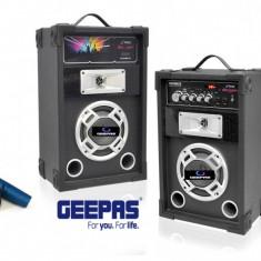 PROMOTIE BLACK FRIDAY! 2 BOXE ACTIVE CU MIXER, MP3 PLAYER USB, RADIO FM, AFISAJ LCD, 200 WATT P.M.P.O+2MICROFOANE +STROBOSCOP DISCO BONUS! - Boxa activa