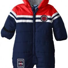 Combinezon US Polo Association Baby-Boys Infant Toned Puffer Bunting Snowsuit US Polo Assn, Marime: Alta, Culoare: Albastru