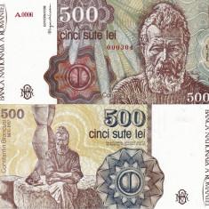Bancnote Romanesti, An: 1991 - ROMANIA 500 lei aprilie 1991 UNC!!!