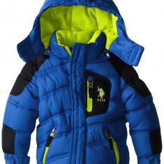 Geaca U.S. Polo Association Little Boys' Poly-Fill Bubble Jacket with Hood US Polo Assn, Culoare: Albastru