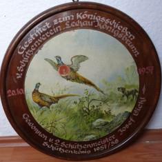 Tablou litografie-Vanatoresc-Fazani-Diametru 50cm-Livrare gratuita - lemn masiv