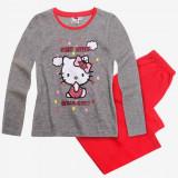 Pijama lunga 4-10 ani WS96372 gri rosu - Hello Kitty