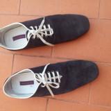 Pantofi ZARA piele intoarsa - Pantofi barbati Zara, Marime: 43, Culoare: Bleumarin