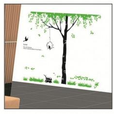 Sticker - autocolant decorativ pentru perete copac cu leagan si pasari