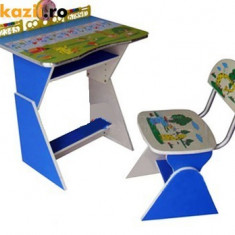 Birou copii cu scaunel, reglabile (Albastru si roz) - Masuta/scaun copii