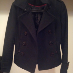 Paltonas scurt H&M, negru, marimea 36 - Palton dama H&m, Marime: 38, Lana
