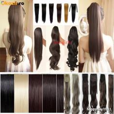 Extensii par BeautyUkCosmetics - Extensie extensii coada par ponytail CALITATE BLOND CIOCOLATIU NEGRU CASTANIU