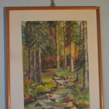 """Tablou, An: 1977, Peisaje, Acuarela - Pattantyus Sari, """"Peisaj de munte"""", 1977, acuarela, 56 x 44 cm"""