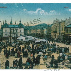 2774 - Maramures, SIGHET, Market - old postcard, CENSOR - used - 1917 - Carte Postala Maramures 1904-1918
