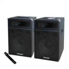 Echipament karaoke - SISTEM PROFESIONAL 2 BOXE ACTIVE CU MIXER, MP3 PLAYER, RADIO, MICROFON WIRELESS.