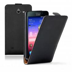Husa Telefon Huawei, Negru, Piele Ecologica, Cu clapeta, Toc - Husa HUAWEI ASCEND Y550 Flip Case Slim Inchidere Magnetica Black