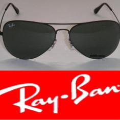 Ochelari de soare Ray Ban, Unisex, Negru, Metal, Protectie UV 100% - Ochelari Ray Ban Aviator Sticla + Toc ray ban + Lavetica